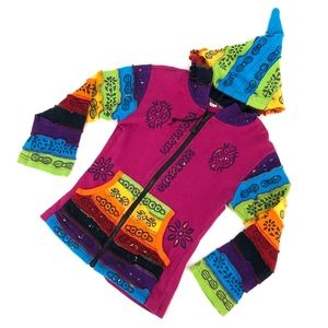 Other - Rainbow made in Nepal jacket 100% cotton